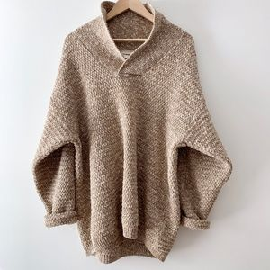 Chunky Dolman Wool Henley Knit Pullover Sweater